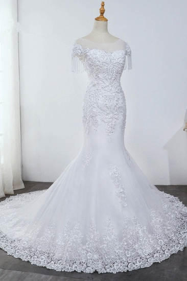 BMbridal Affordable Jewel Mermaid Tulle Lace Wedding Dress Sleeveless Appliques Beading Bridal Gowns with Tassels Online_3