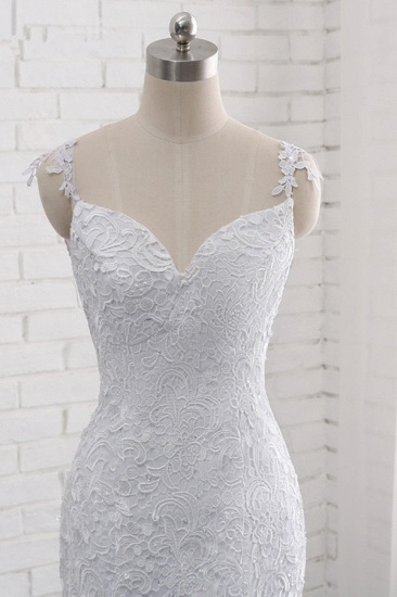 BMbridal Mordern Straps V-Neck Tulle Lace Wedding Dress Sleeveless Appliques Beadings Bridal Gowns Online_6