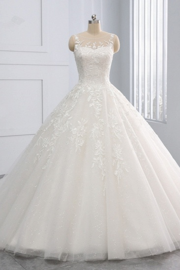 BMbridal Affordable Ball Gown Jewel Tulle Lace Wedding Dress Ruffles Sleeveless Appliques Bridal Gowns Online_1