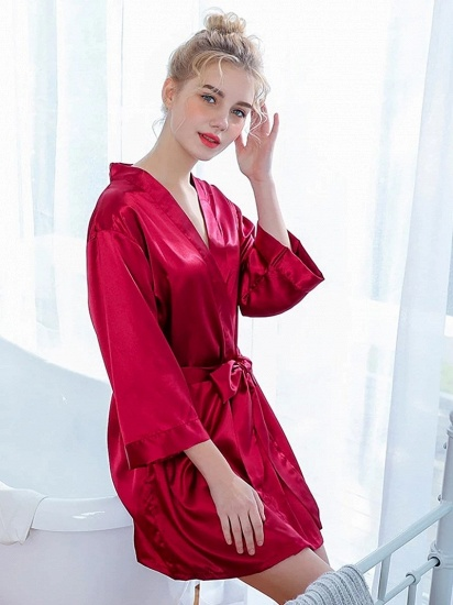 Sexy Burgundy Lace Imitation Silk Belt Bathrobe for Brides_3