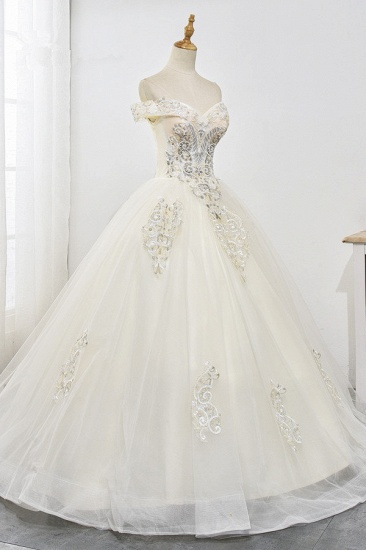 Gorgeous Off-the-Shoulder Champagne Tulle Wedding Dress Ball Gown Lace Appliques Sleeveless Bridal Gowns Online_5