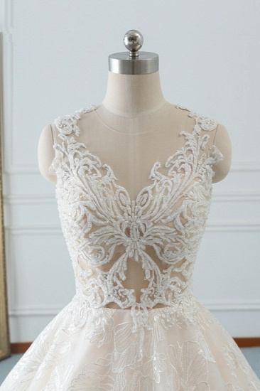 Elegant Jewel White Tulle Lace Wedding Dress Sleeveless Appliques A-Line Bridal Gowns Online_6