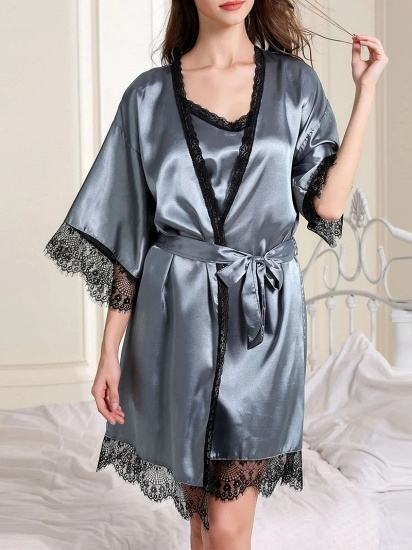 BMbridal Fashion Women Simulation Silk Pajamas with Lace Edges_2