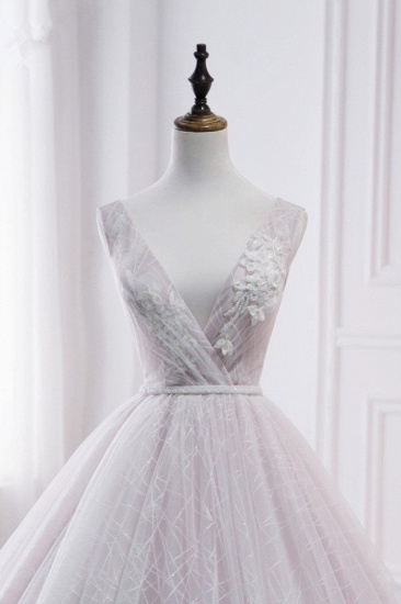Affordable V-Neck Sleeveless Wedding Dress Lace Appliques Bedaings Long Bridal Gowns On Sale_6