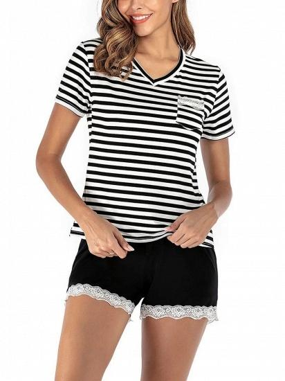 Two Pieces V Neck Lace Nightwear Modern Stripes Pajamas_3