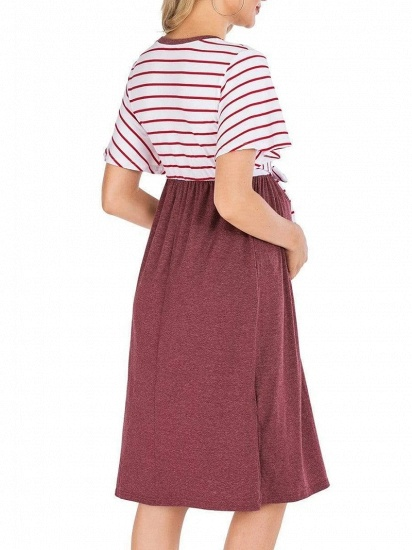 Fashion Women's Striped Round-Neck Maternity Dress with Short-sleeves_6