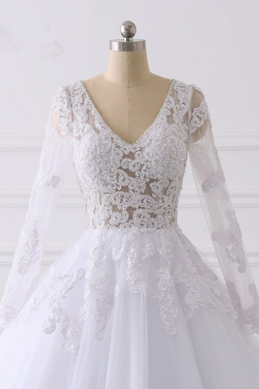 BMbridal Elegant V-Neck Long Sleeves Wedding Dress White Tulle Lace Appliques Bridal Gowns On Sale_5