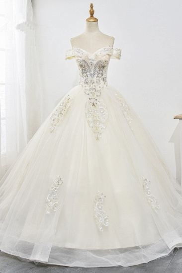 Gorgeous Off-the-Shoulder Champagne Tulle Wedding Dress Ball Gown Lace Appliques Sleeveless Bridal Gowns Online_1