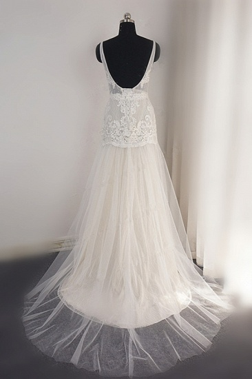 Sexy Straps Deep-V-Neck Tulle Appliques Wedding Dress Sleeveless Ruffles Lace Bridal Gowns Online_3