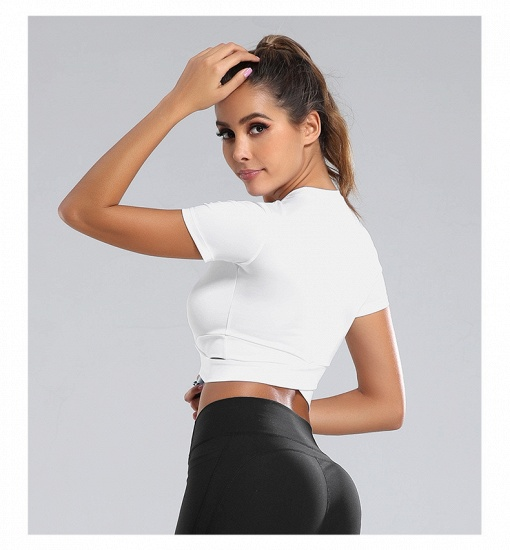 BMbridal New Sport Crop Top Women Fashion Seamless Yoga Shirts High Elastic Breathable Short Sleeve Female Sportswear_5