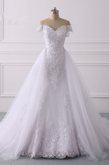 Elegant Off-the-Shoulder Tulle Lace Wedding Dress Sweetheart Appliques Beadings Sleeveless Bridal Gowns On Sale_2