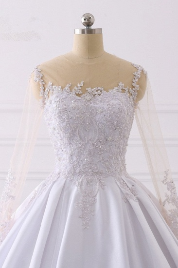 Glamorous Ball Gown Jewel Satin Tulle Wedding Dress Long Sleeves Ruffles Lace Bridal Gowns Online_5