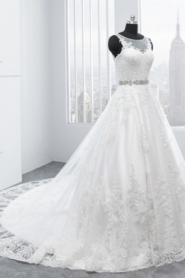 BMbridal Simple Jewel Tulle Lace Wedding Dress A-Line Appliques Beadings Bridal Gowns with Sash Online_4