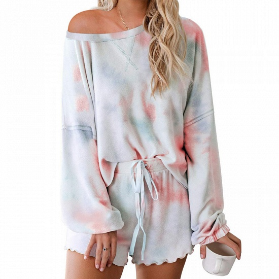 BMbridal Long sleeve One shoulder Tie-dye Loungewear Pink Two-pieces Pajamas_3