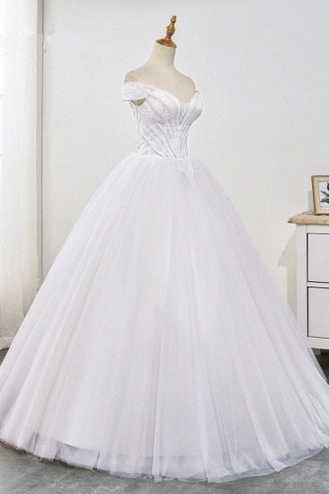 Stunning Off-the-Shoulder Ball Gown White Tulle Wedding Dress Sweetheart Sleeveless Beadings Bridal Gowns Online_4
