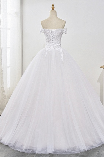 Stunning Off-the-Shoulder Ball Gown White Tulle Wedding Dress Sweetheart Sleeveless Beadings Bridal Gowns Online_3