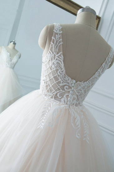 Simple V-Neck White Tulle Wedding Dress Sleeveless Lace Top Bridal Gowns with Beadings On Sale_6