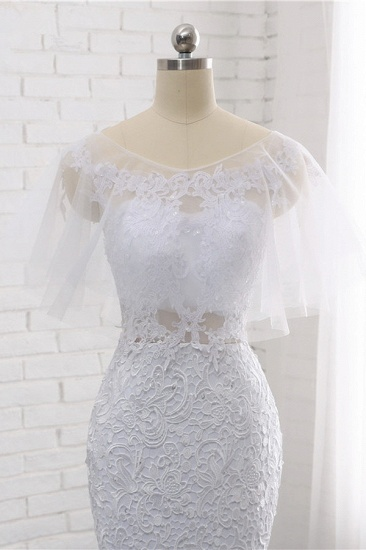 Elegant Jewel Sleeveless White Tulle Wedding Dress Mermaid Lace Beading Bridal Gowns On Sale_8