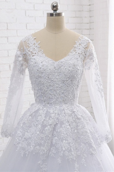 Stylish Long Sleeves Tulle Lace Wedding Dress Ball Gown V-Neck Sequins Appliques Bridal Gowns On Sale_6