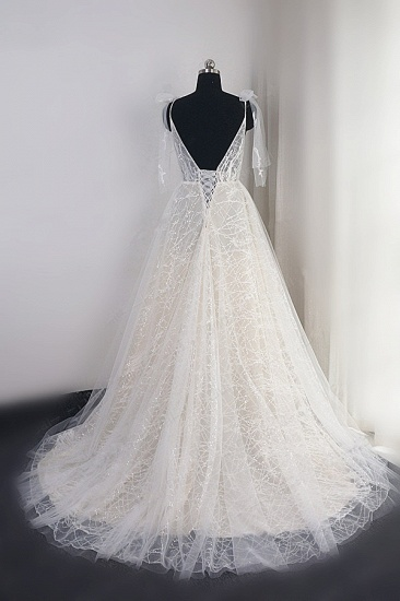 BMbridal Gorgeous Spaghetti Straps Tulle Wedding Dress Beading V-Neck Sleeveless Bridal Gowns Online_3