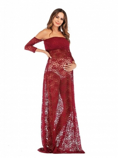 Burgundy See-through Lace Strapless Maternity Dress with Half-sleeves_3