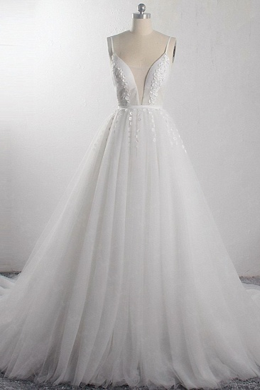 Sexy A-Line Spaghetti Straps Tulle Wedding Dress Deep-V-Neck Appliques Sleeveless Bridal Gowns Online