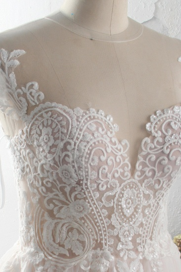 Elegant Jewel Tulle Lace Wedding Dress Short Sleeves Appliques Ruffles Bridal Gowns On Sale_4