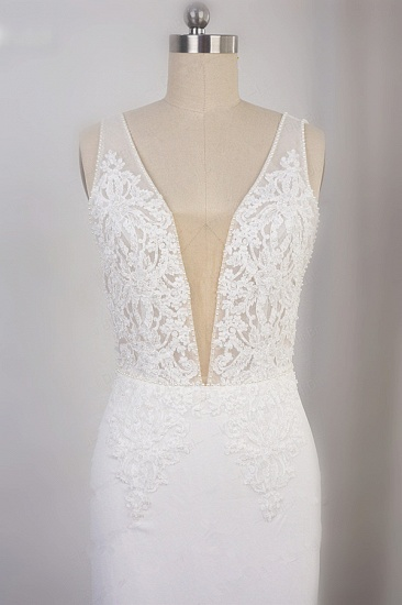 BMbridal Sexy Deep-V-Neck Chiffon Sheath Wedding Dress Lace Appliques Sleeveless Pearls Bridal Gowns Online_4