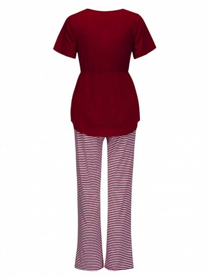 Fashion Burgundy Casual Maternity Suit with Short Sleeves_4