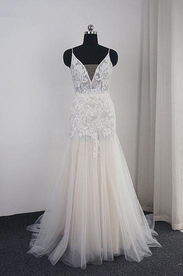 Sexy Deep-V-Neck Tulle Mermaid Wedding Dress Lace Appliques Spaghetti Straps Beadings Bridal Gowns Online_1