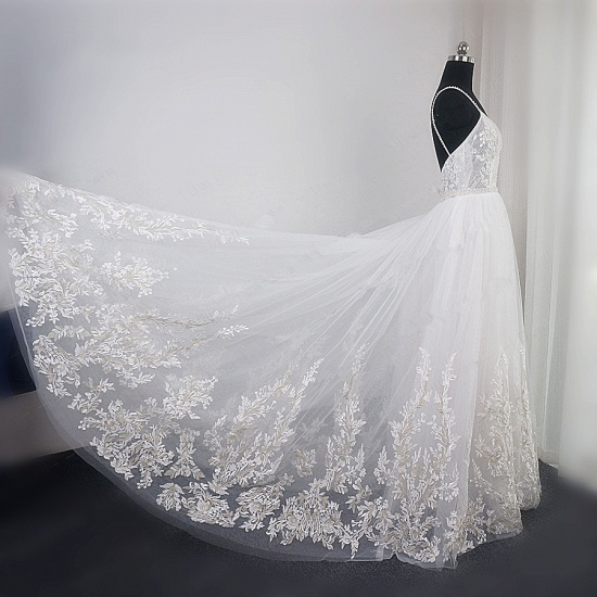 BMbridal Elegant Spaghetti Straps Tulle Lace Wedding Dress V-Neck Appliques See Through Top Bridal Gowns_5