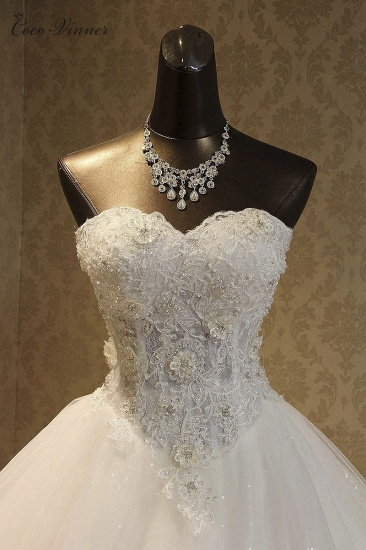 BMbridal Elegant Strapless Tulle Ball Gown Wedding Dress Appliques Sequined Sweetheart Bridal Gowns On Sale_2