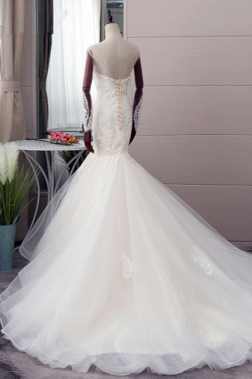 BMbridal Chic Jewel Tulle Mermaid Lace Wedding Dress Pearls Appliques Long Sleeves Bridal Gowns Online_4