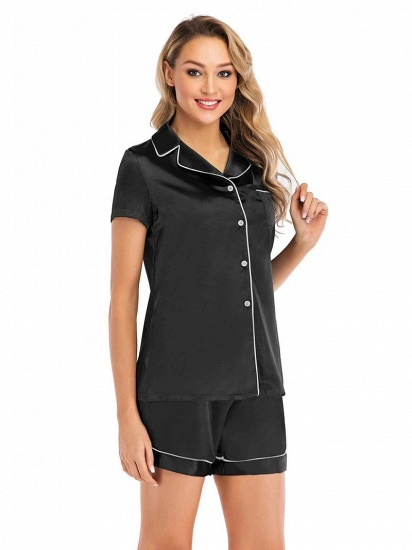 Sexy Fashion Women Summer Silk Sleepwear with Short Sleeves_3