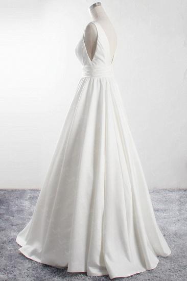 BMbridal Affordable V-neck Satin White Wedding Dress Sleeveless Ruffles Bridal Gowns On Sale_3