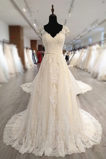 Gorgeous V-Neck Cap Sleeves Tulle Wedding Dress Lace Appliques Ruffle Bridal Gowns Online
