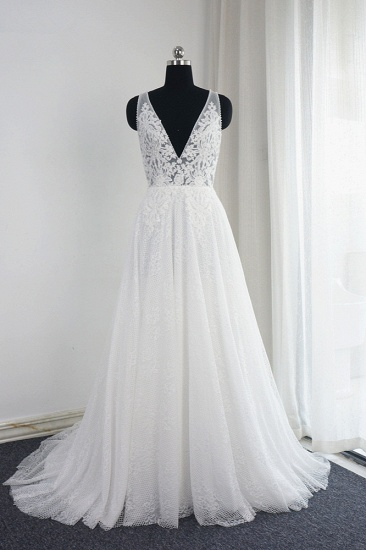 Chic Tulle Lace Ruffles White Wedding Dress Sleeveless V-Neck Appliques Bridal Gowns On Sale