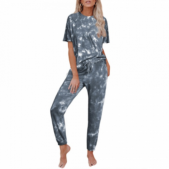 Tie-dye Short-sleeved Pajamas Women Printing Comfortable Ladies Home Wear_9