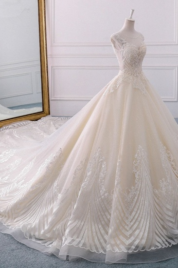 BMbridal Gorgeous Jewel Lace Appliques Wedding Dress Sleeveless Beadings Bridal Gowns with Sequins Online_3