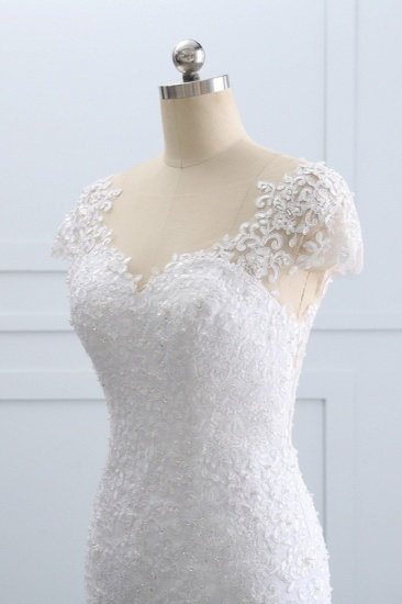 BMbridal Chic Jewel Mermaid Tulle Lace Wedding Dress Short-Sleeves Beadings Appliques Bridal Gowns On Sale_7