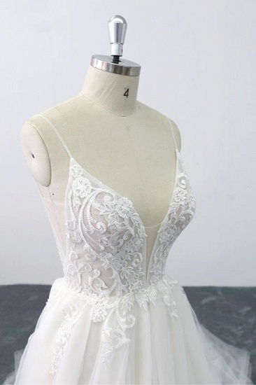 Sexy Spaghetti Straps Tulle Lace Wedding Dress V-Neck Ruffles Appliques Bridal Gowns Online_6