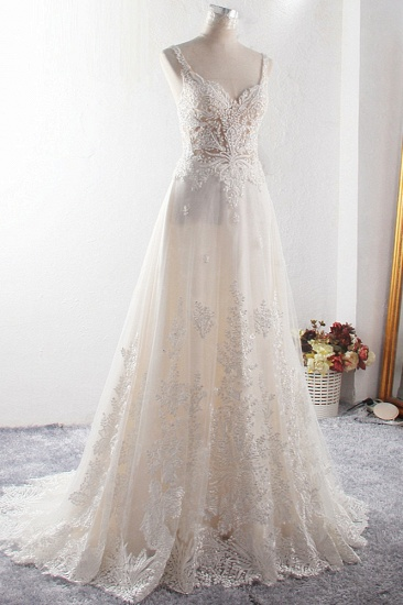 BMbridal Gorgeous Straps Sweetheart Tulle Wedding Dress Sleeveless Sweetheart Appliques Bridal Gowns with Pearls Online_4