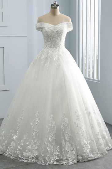 Gorgeous Off-the-Shoulder Tulle Appliques Wedding Dress Sweetheart Sleeveless Lace Bridal Gowns On Sale_1