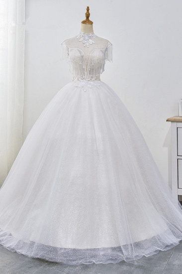 Luxury Ball Gown High-Neck Tulle Wedding Dress Sparkly Sequins Sleeveless Appliques Bridal Gowns with Tassels_1