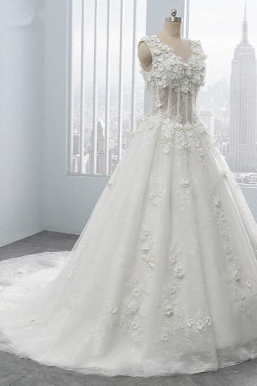 BMbridal Glamorous V-Neck Tulle Wedding Dress with Flowers Appliques Sleeveless Beadings Bridal Gowns Online_4