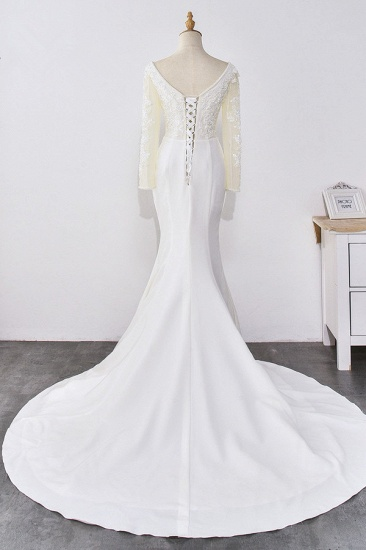 BMbridal Simple Satin Mermaid Jewel Wedding Dress Tulle Lace Long Sleeves Bridal Gowns On Sale_3