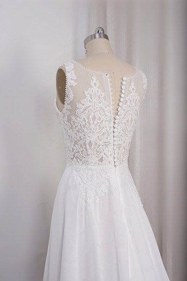 BMbridal Elegant Straps V-neck Chiffon White Wedding Dress Sleeveless Lace Appliques Ruffle Bridal Gowns On Sale_5