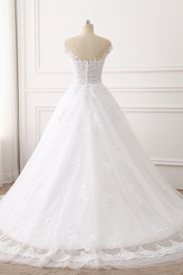 BMbridal Affordable Jewel Tulle Lace White Wedding Dress Sleeveless Appliques Bridal Gowns Online_3