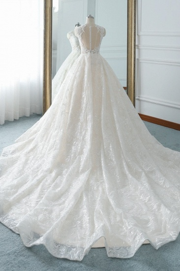 Elegant Jewel White Tulle Lace Wedding Dress Sleeveless Appliques A-Line Bridal Gowns Online_3