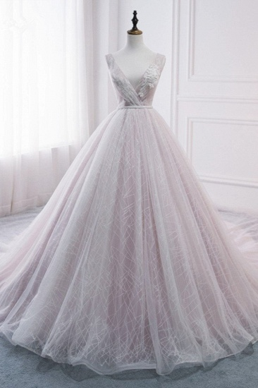 Affordable V-Neck Sleeveless Wedding Dress Lace Appliques Bedaings Long Bridal Gowns On Sale
